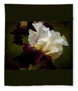 Purple And White Iris Fleece Blanket