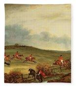 The Quorn In Full Cry Near Tiptoe Hill Fleece Blanket