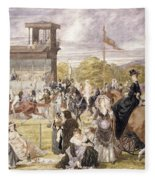 The Races At Longchamp In 1874 Fleece Blanket