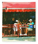 The Red Awning Cafe On St. Denis - A Shady Spot To Enjoy A Cold Beer On A Very Hot Sunday In July Fleece Blanket