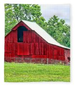 The Red Barn - Featured In Old Buildings And Ruins Group Fleece Blanket