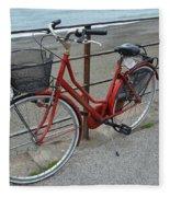 The Red Bicycle Fleece Blanket