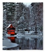 The Red Boathouse - Old Forge Ny Fleece Blanket