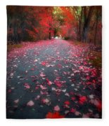 The Red Leaf Fleece Blanket