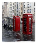 The Red Phone Booth Fleece Blanket
