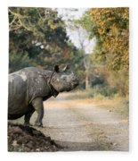 The Rhino At Kaziranga Fleece Blanket