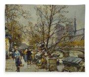 The Rive Gauche Paris With Notre Dame Beyond Fleece Blanket
