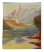 The River Flowing From A High Mountain Fleece Blanket