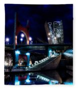 The Riverside Pool Of The Guggenheim Museum In Bilbao Spain Fleece Blanket