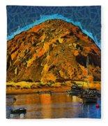 The Rock At Morro Bay Abstract Fleece Blanket