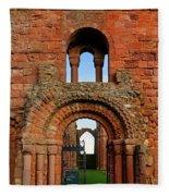 The Romanesque Doorway In The Monastery Fleece Blanket