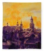The Roofs Of Lublin Fleece Blanket