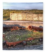 The Ruins Of A Ww2 Cannon And Bunkers Fleece Blanket