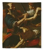 The Sacrifice Of Isaac, 1613 Oil On Canvas Fleece Blanket