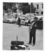 The Saxman In Black And White Fleece Blanket