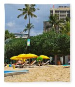 The Scene At Waikiki Beach Fleece Blanket