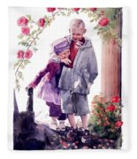 Watercolor Of A Boy And Girl In Their Secret Garden Fleece Blanket