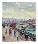 The Seine At Rouen Fleece Blanket