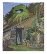 The Shed, Clovelly Oil On Board Fleece Blanket