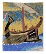 The Ship Of Odysseus Fleece Blanket