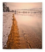 The Shore In Winter Fleece Blanket