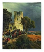 The Siege. Defense Of A Church Courtyard During The Thirty Years' War Fleece Blanket
