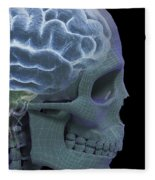 The Skull And Brain Fleece Blanket