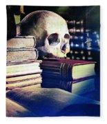 The Skull The Spell Book And The Rose Fleece Blanket