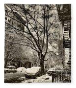 The Snow Tree - Sepia Antique Look Fleece Blanket