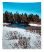The Snowy Moose River - Old Forge New York Fleece Blanket