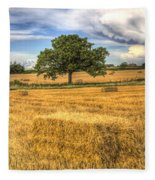 The Solitary Farm Tree Fleece Blanket