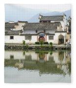 The South Lake In Hongcun Village Fleece Blanket