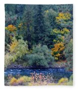 The Spokane River In The Fall Colors Fleece Blanket