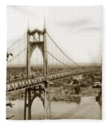The St. Johns Bridge Is A Steel Suspension Bridge That Spans The Willamette River Fleece Blanket