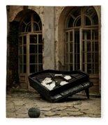The Stone Sphere And Broken Grand Piano Fleece Blanket