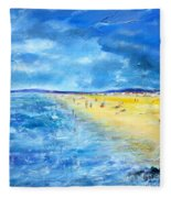 The Storm Arrives At The Beach Fleece Blanket