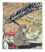 The Studious Rabbit And The Monkey Fleece Blanket