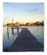 The Sun Begins To Set On Long Beach Island Fleece Blanket