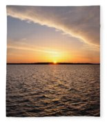 The Sun Coming Up On The Chesapeake Fleece Blanket