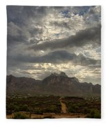 The Superstition Mountains After A Storm  Fleece Blanket