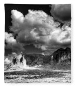 The Superstitions - Black And White  Fleece Blanket