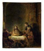The Supper At Emmaus, 1648 Oil On Panel Fleece Blanket