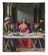 The Supper At Emmaus Fleece Blanket