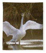 The Swan Spreads Its Wimgs Fleece Blanket