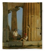 The Temple Of Poseidon. Paestum Fleece Blanket