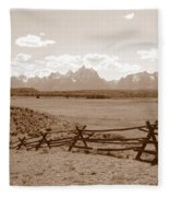 The Tetons In Sepia Fleece Blanket
