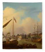 The Thames And Tower Of London On The King's Birthday Fleece Blanket