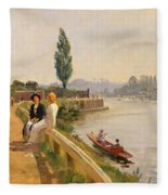 The Thames At Hampton Court Fleece Blanket