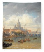 The Thames With Somerset House And St Pauls Cathedral Fleece Blanket
