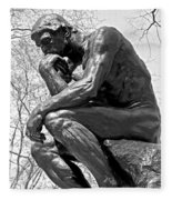 The Thinker In Black And White Fleece Blanket